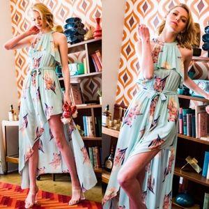 HAYLEY Floral Print Halter Maxi Dress